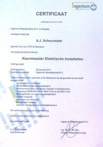 Certificaat Keurmeester Elektrische Installaties
